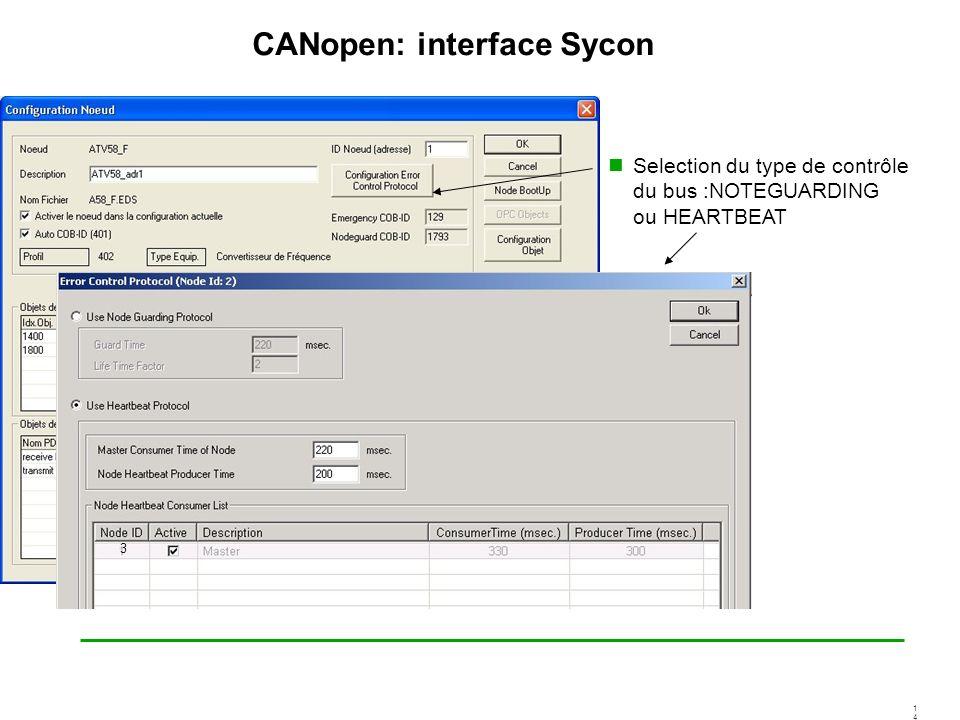 1414 CANopen: interface Sycon Selection du type de contrôle du bus :NOTEGUARDING ou HEARTBEAT 3