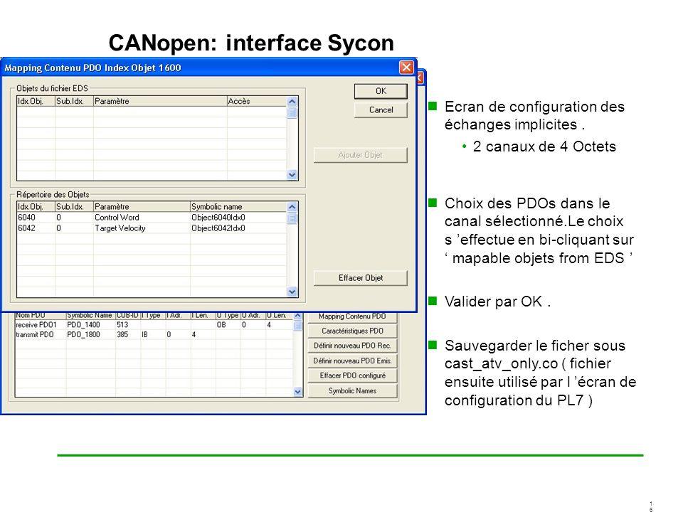 1616 CANopen: interface Sycon Ecran de configuration des échanges implicites. 2 canaux de 4 Octets Choix des PDOs dans le canal sélectionné.Le choix s
