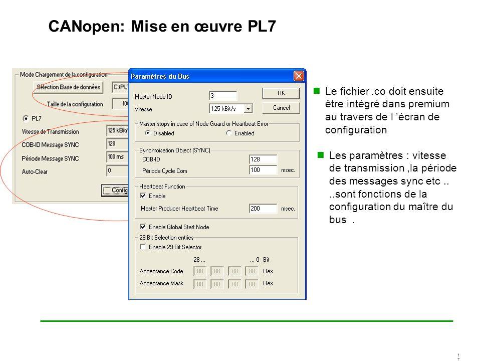 1717 CANopen: Mise en œuvre PL7 Le fichier.co doit ensuite être intégré dans premium au travers de l écran de configuration Les paramètres : vitesse d
