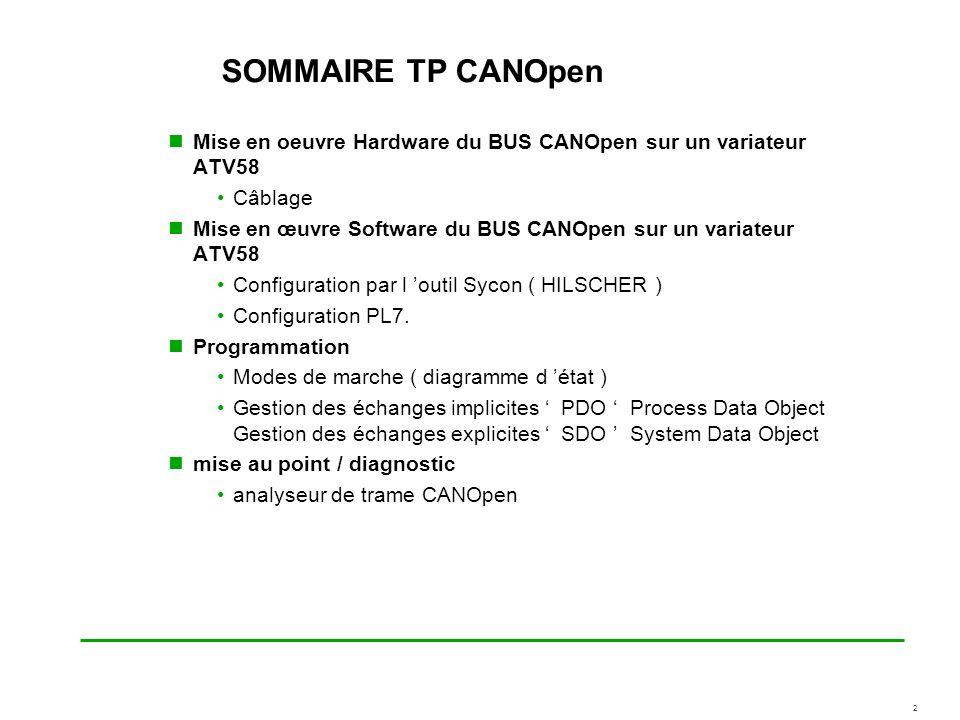 2 SOMMAIRE TP CANOpen Mise en oeuvre Hardware du BUS CANOpen sur un variateur ATV58 Câblage Mise en œuvre Software du BUS CANOpen sur un variateur ATV