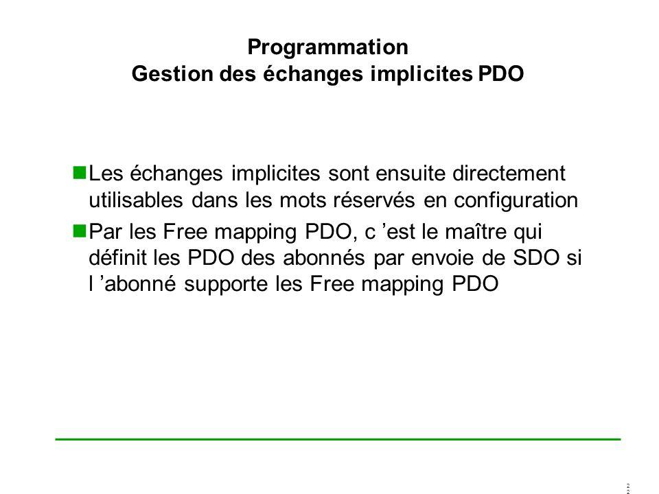 2 Programmation Gestion des échanges implicites PDO Les échanges implicites sont ensuite directement utilisables dans les mots réservés en configurati