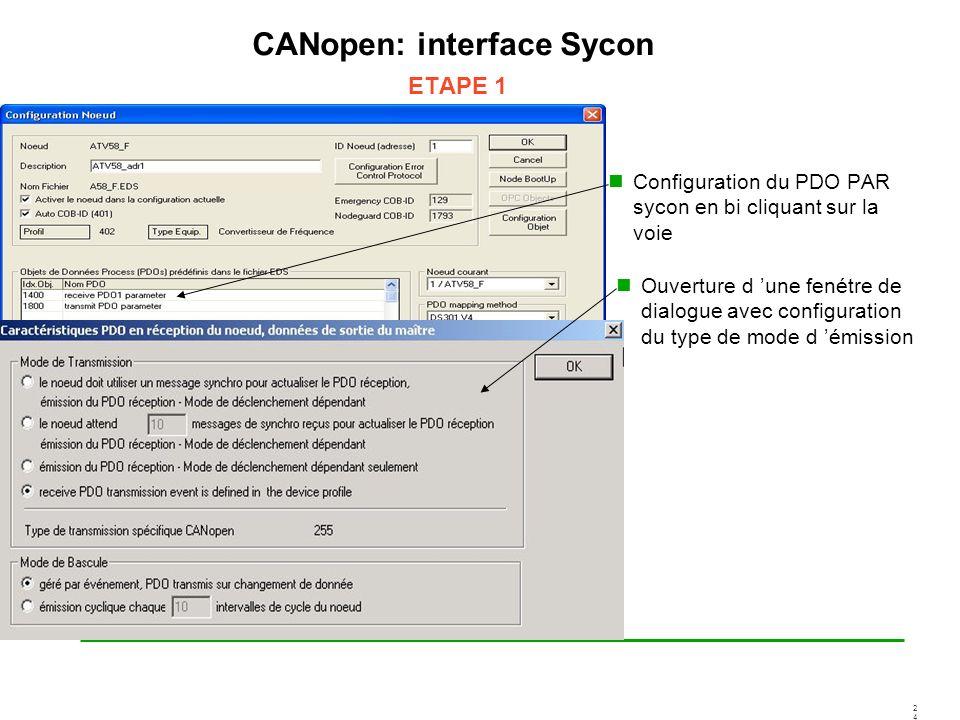 2424 CANopen: interface Sycon ETAPE 1 Configuration du PDO PAR sycon en bi cliquant sur la voie Ouverture d une fenétre de dialogue avec configuration