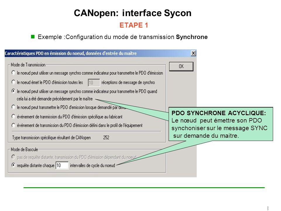 2727 CANopen: interface Sycon ETAPE 1 Exemple :Configuration du mode de transmission Synchrone PDO SYNCHRONE ACYCLIQUE: Le nœud peut émettre son PDO s