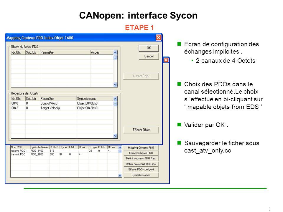 3131 CANopen: interface Sycon ETAPE 1 Ecran de configuration des échanges implicites. 2 canaux de 4 Octets Choix des PDOs dans le canal sélectionné.Le