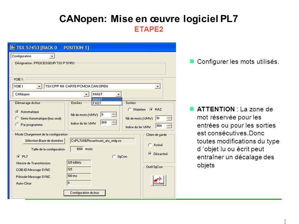 3232 CANopen: Mise en œuvre logiciel PL7 ETAPE2 Configurer les mots utilisés. ATTENTION : La zone de mot réservée pour les entrées ou pour les sorties