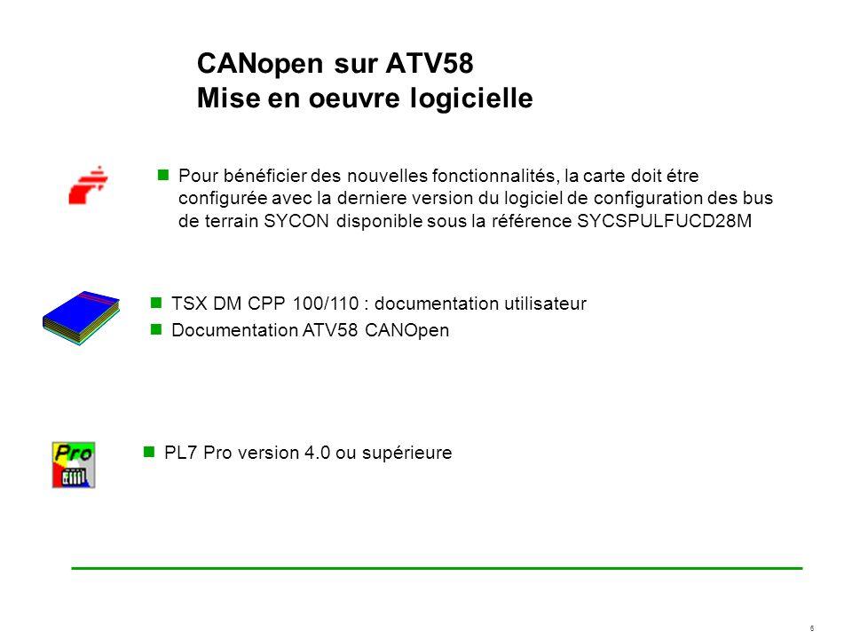 6 CANopen sur ATV58 Mise en oeuvre logicielle Pour bénéficier des nouvelles fonctionnalités, la carte doit étre configurée avec la derniere version du