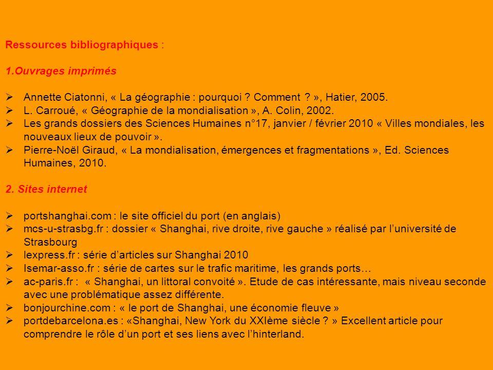 Ressources bibliographiques : 1.Ouvrages imprimés Annette Ciatonni, « La géographie : pourquoi ? Comment ? », Hatier, 2005. L. Carroué, « Géographie d