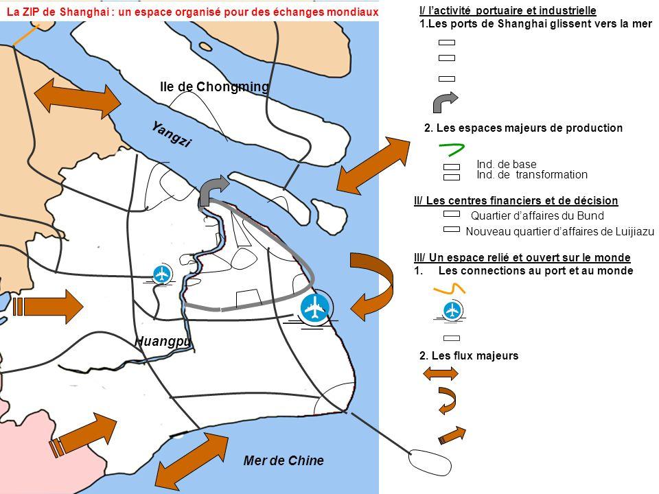 Yangzi Mer de Chine Huangpu Ile de Chongming I/ lactivité portuaire et industrielle 1.Les ports de Shanghai glissent vers la mer 2. Les espaces majeur