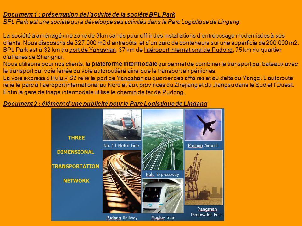 Document 1 : présentation de lactivité de la société BPL Park BPL Park est une société qui a développé ses activités dans le Parc Logistique de Lingan