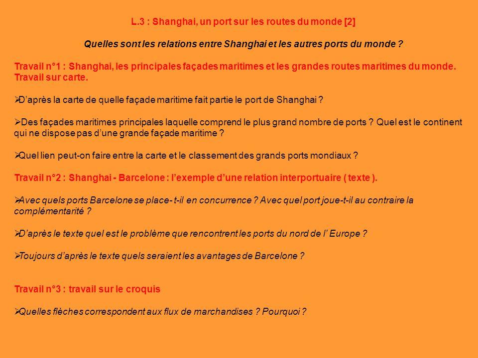 L.3 : Shanghai, un port sur les routes du monde [2] Quelles sont les relations entre Shanghai et les autres ports du monde ? Travail n°1 : Shanghai, l