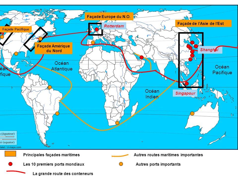 Classement des grands ports mondiaux (2008) Les premiers ports mondiaux sont asiatiques…et chinois.