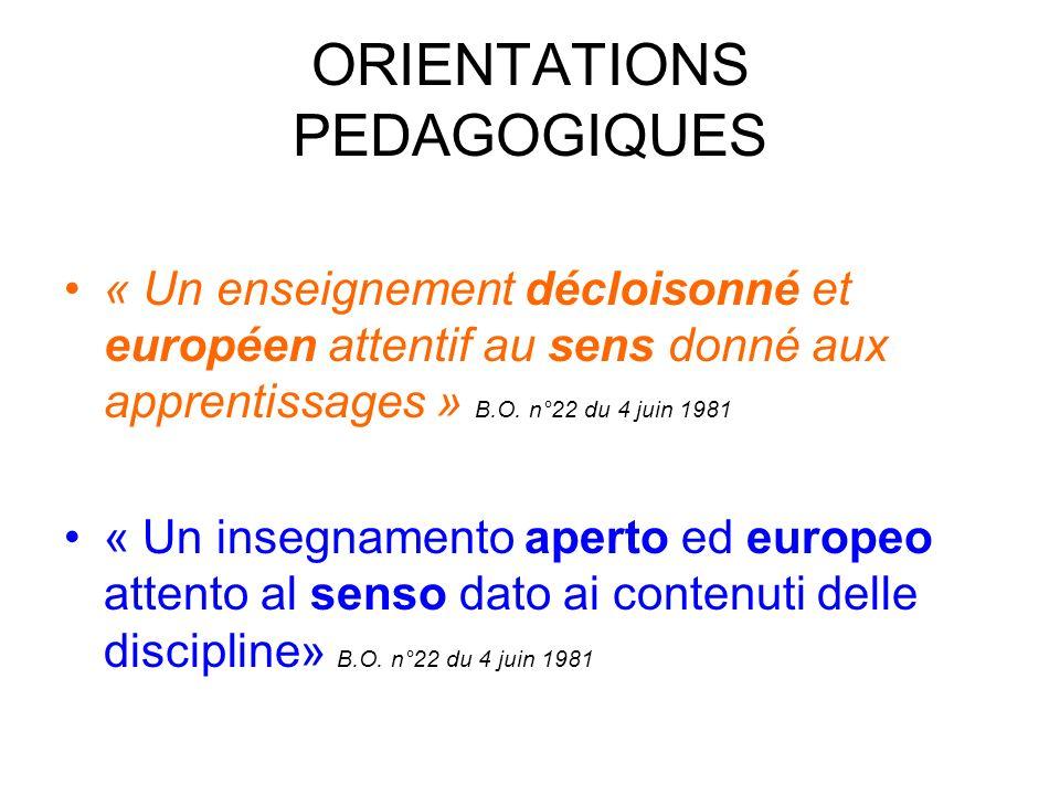 ORIENTATIONS PEDAGOGIQUES « Un enseignement décloisonné et européen attentif au sens donné aux apprentissages » B.O.