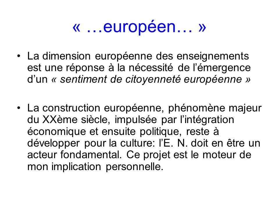 « …européen… » La dimension européenne des enseignements est une réponse à la nécessité de lémergence dun « sentiment de citoyenneté européenne » La construction européenne, phénomène majeur du XXème siècle, impulsée par lintégration économique et ensuite politique, reste à développer pour la culture: lE.