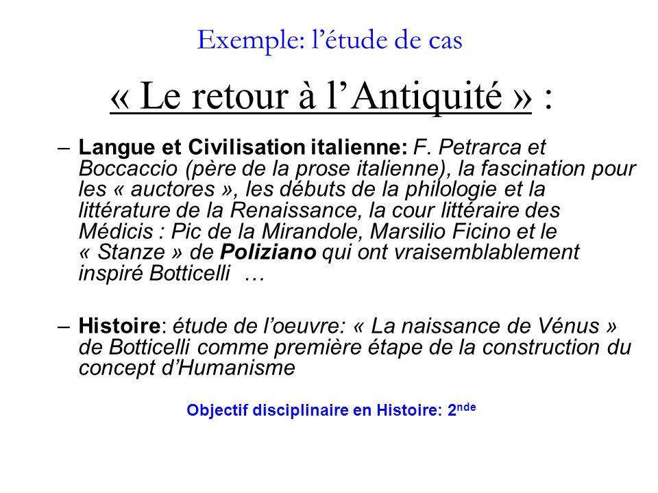 Exemple: létude de cas « Le retour à lAntiquité » : –Langue et Civilisation italienne: F.