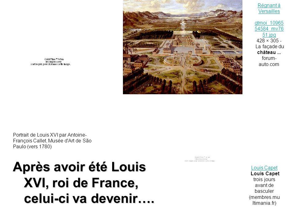 BILAN : Louis XVI Roi de France Louis XVI Roi des français Louis Capet Un citoyen POUVOIRABSOLUCONTESTE POUVOIR LIMITE PAR UNE CONSTITUTION : Pouvoir exécutif PERTE DE TOUS SES POUVOIRS LIEU DE POUVOIR : CHÂTEAU DE VERSAILLES LIEU DE POUVOIR : PALAIS DES TUILERIES (PARIS) PRISON PRISON AU TEMPLE (PARIS) Révolution Révolution1789République1792 3IDENTITES Exécution 21 janvier 1793 (1) (2)(3) …..qui prouvent que le destin du roi Louis XVI est le reflet de celui de la France entre 1789 et 1793.