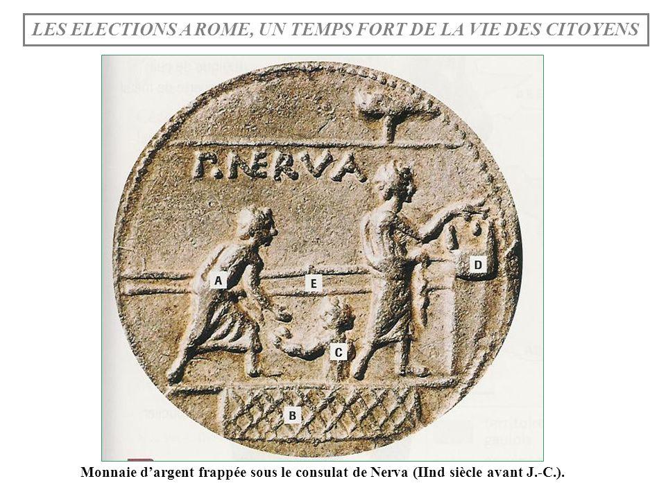 Monnaie dargent frappée sous le consulat de Nerva (IInd siècle avant J.-C.). LES ELECTIONS A ROME, UN TEMPS FORT DE LA VIE DES CITOYENS