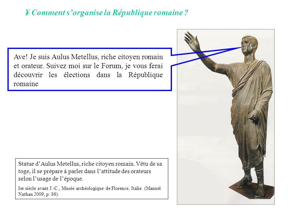 ¥ Comment sorganise la République romaine ? Ave! Je suis Aulus Metellus, riche citoyen romain et orateur. Suivez moi sur le Forum, je vous ferai décou