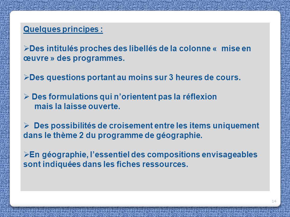 14 Quelques principes : Des intitulés proches des libellés de la colonne « mise en œuvre » des programmes. Des questions portant au moins sur 3 heures