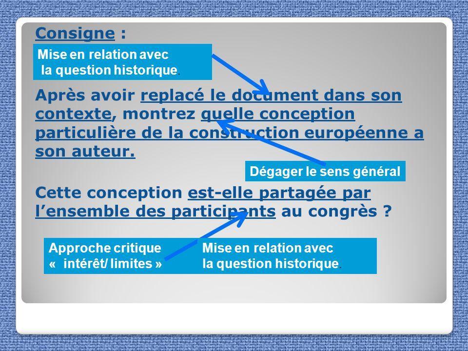 Consigne : Après avoir replacé le document dans son contexte, montrez quelle conception particulière de la construction européenne a son auteur. Cette