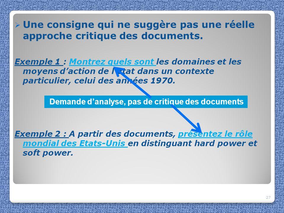 Une consigne qui ne suggère pas une réelle approche critique des documents. Exemple 1 : Montrez quels sont les domaines et les moyens daction de lEtat