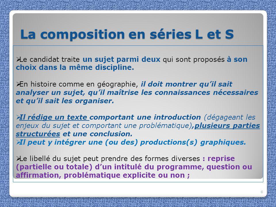 La composition en séries L et S La composition en séries L et S 8 Le candidat traite un sujet parmi deux qui sont proposés à son choix dans la même di