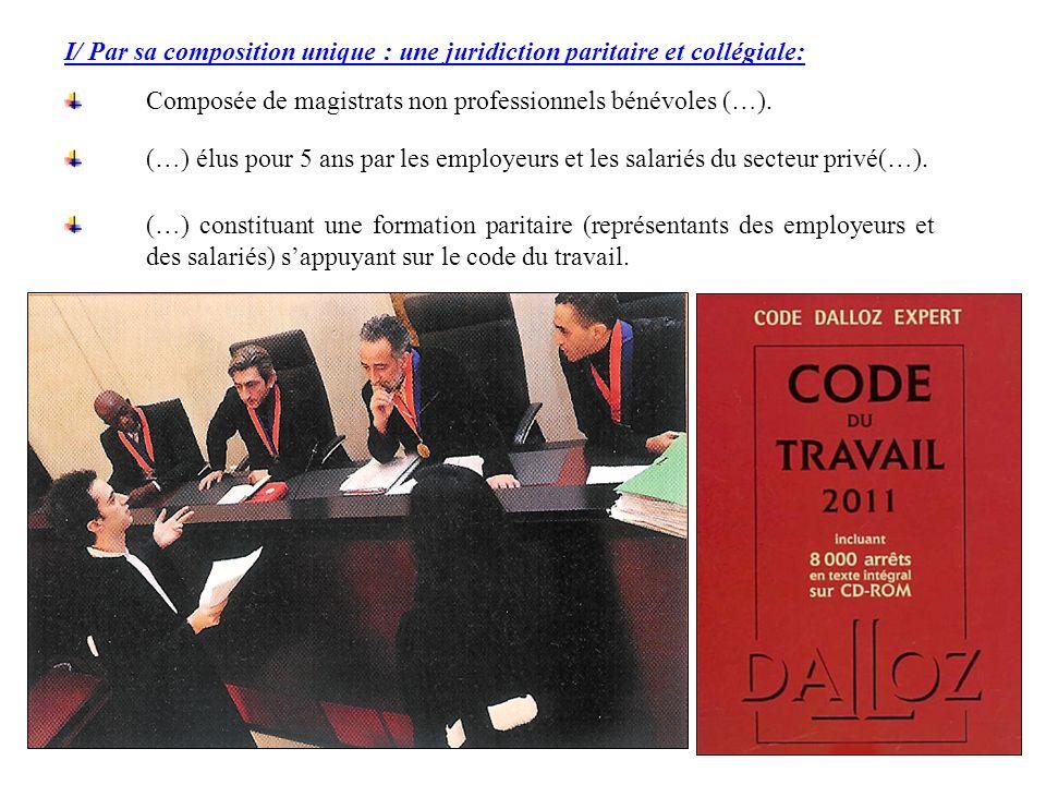 (…) constituant une formation paritaire (représentants des employeurs et des salariés) sappuyant sur le code du travail. I/ Par sa composition unique