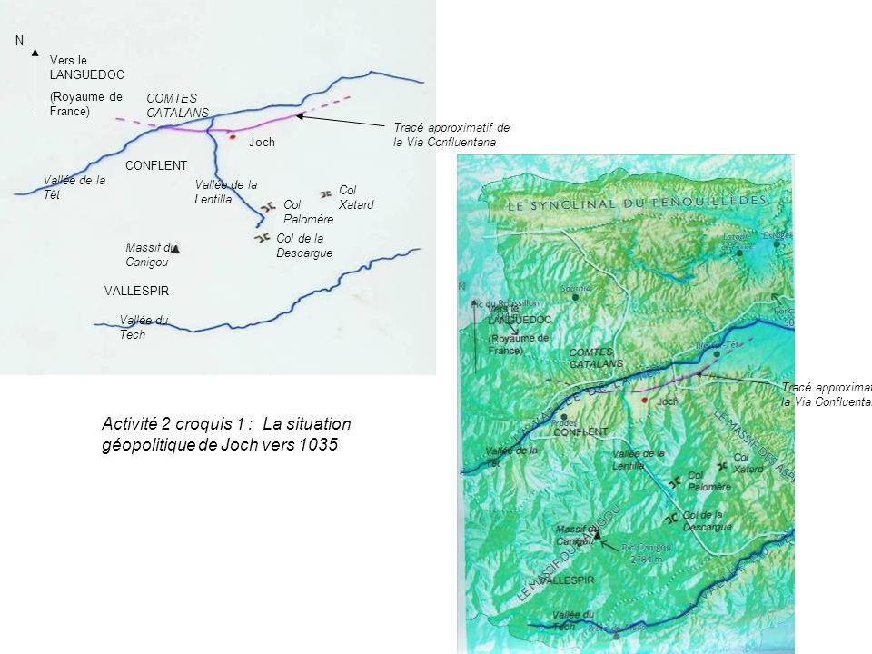 Vallée de la Têt Vallée du Tech Massif du Canigou Tracé approximatif de la Via Confluentana Joch Col Xatard Col Palomère Col de la Descargue COMTES CA