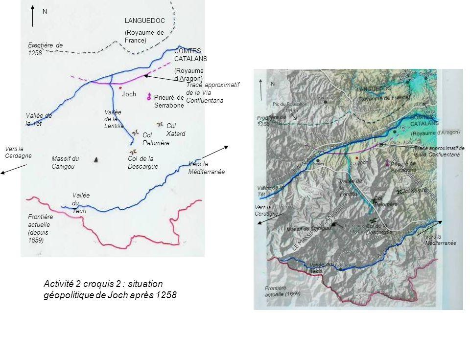 Vallée de la Têt Vallée du Tech Massif du Canigou Frontière de 1258 Frontière actuelle (depuis 1659) LANGUEDOC (Royaume de France) COMTES CATALANS (Ro