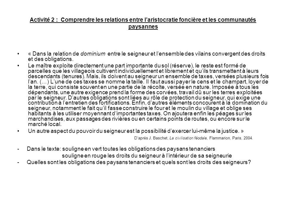 Activité 2 : Comprendre les relations entre laristocratie foncière et les communautés paysannes « Dans la relation de dominium entre le seigneur et le