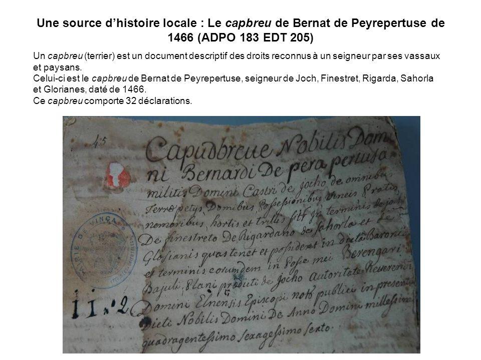 Une source dhistoire locale : Le capbreu de Bernat de Peyrepertuse de 1466 (ADPO 183 EDT 205) Un capbreu (terrier) est un document descriptif des droi