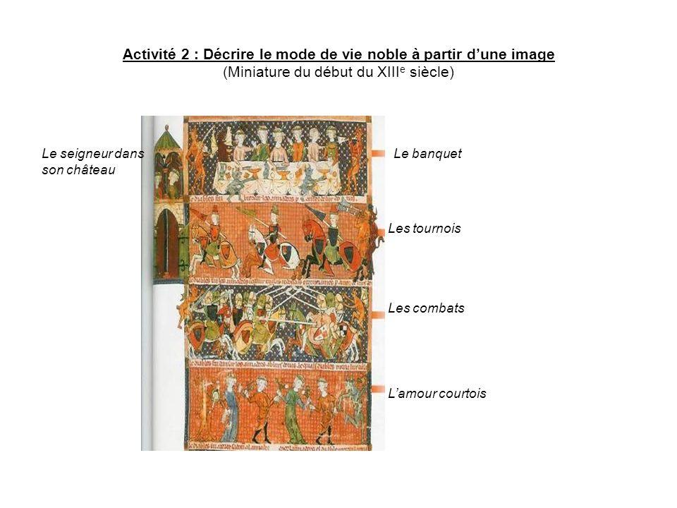 Activité 2 : Décrire le mode de vie noble à partir dune image (Miniature du début du XIII e siècle) Le banquet Les tournois Les combats Lamour courtoi