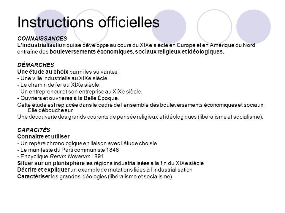 Instructions officielles CONNAISSANCES Lindustrialisation qui se développe au cours du XIXe siècle en Europe et en Amérique du Nord entraîne des boule