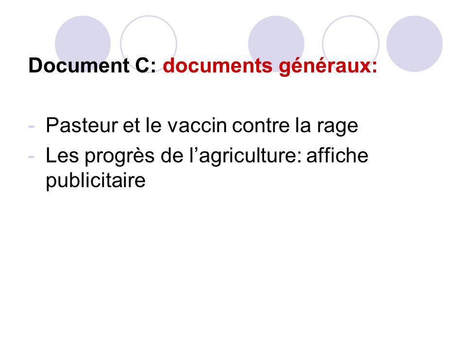 Document C: documents généraux: -Pasteur et le vaccin contre la rage -Les progrès de lagriculture: affiche publicitaire