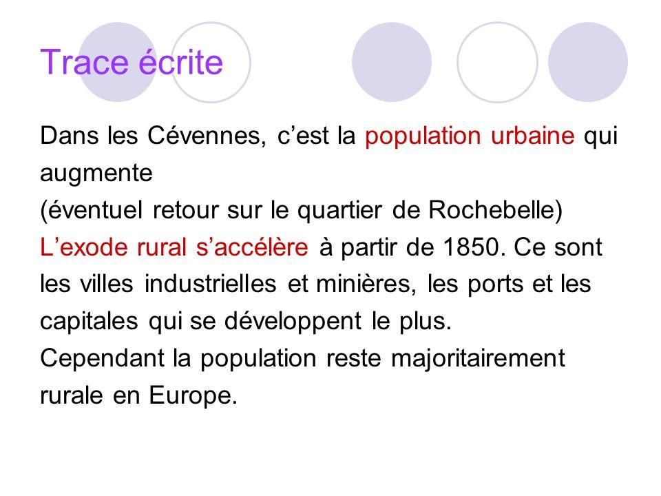 Trace écrite Dans les Cévennes, cest la population urbaine qui augmente (éventuel retour sur le quartier de Rochebelle) Lexode rural saccélère à parti