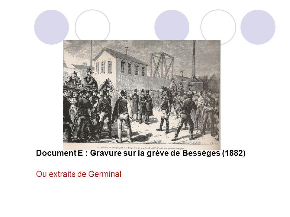 Document E : Gravure sur la grève de Bessèges (1882) Ou extraits de Germinal