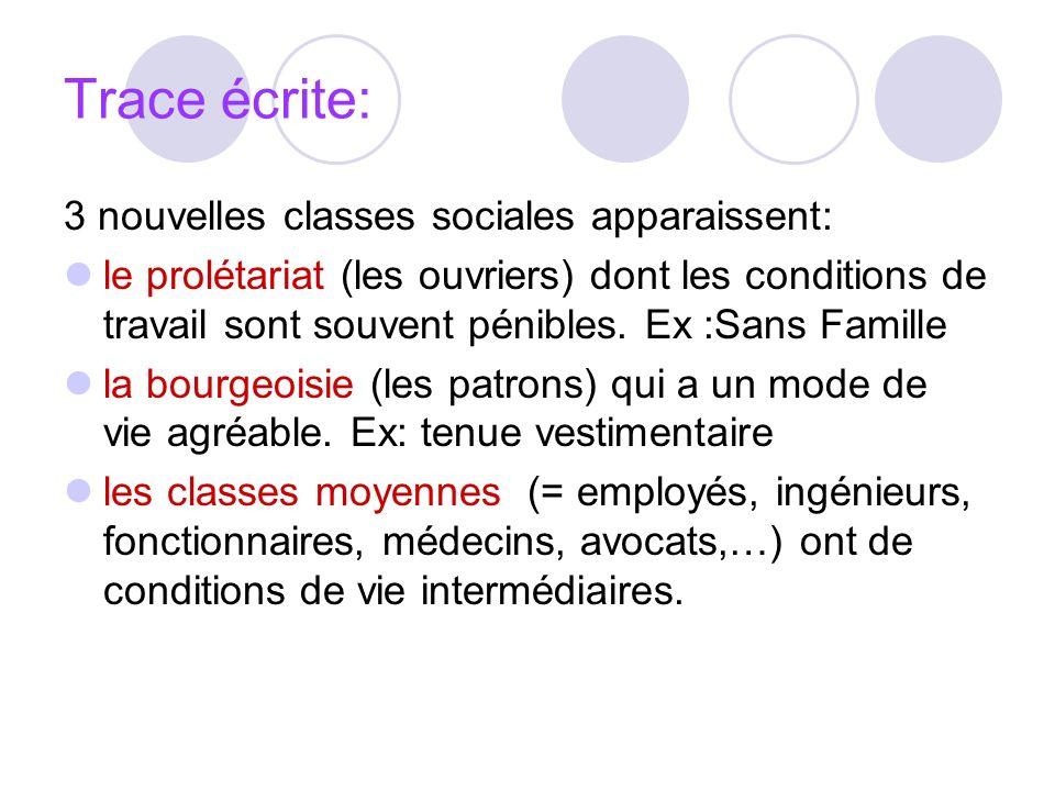 Trace écrite: 3 nouvelles classes sociales apparaissent: le prolétariat (les ouvriers) dont les conditions de travail sont souvent pénibles. Ex :Sans