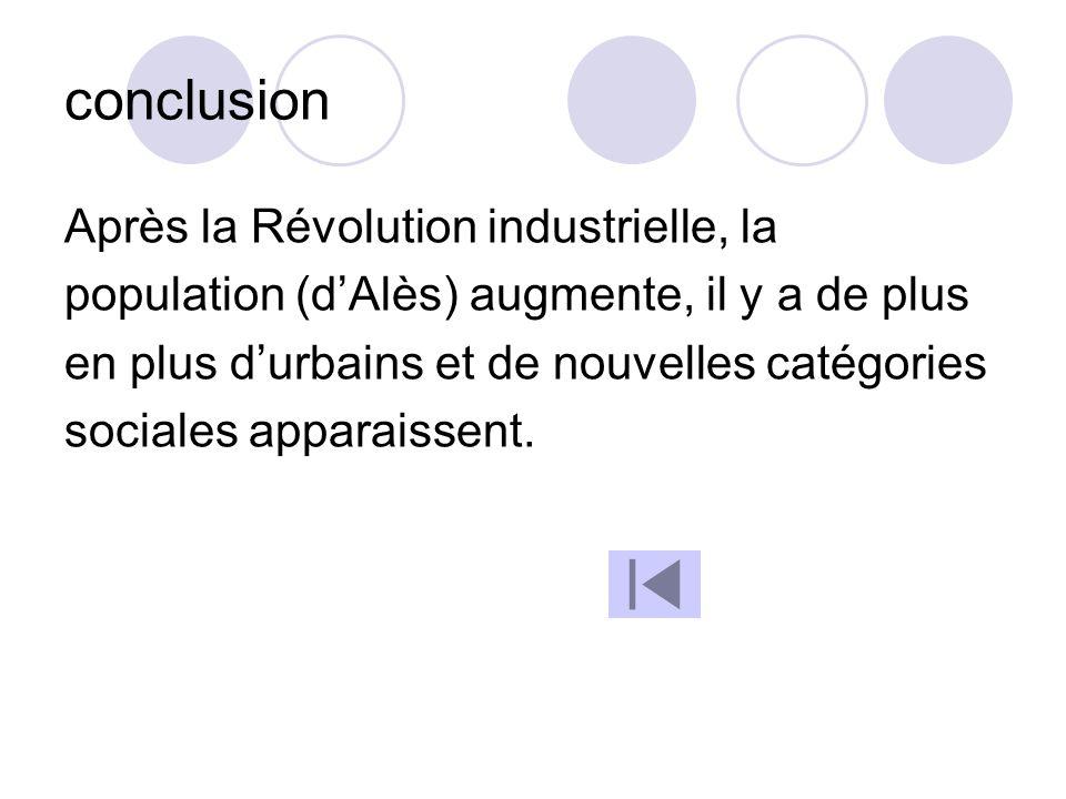 conclusion Après la Révolution industrielle, la population (dAlès) augmente, il y a de plus en plus durbains et de nouvelles catégories sociales appar