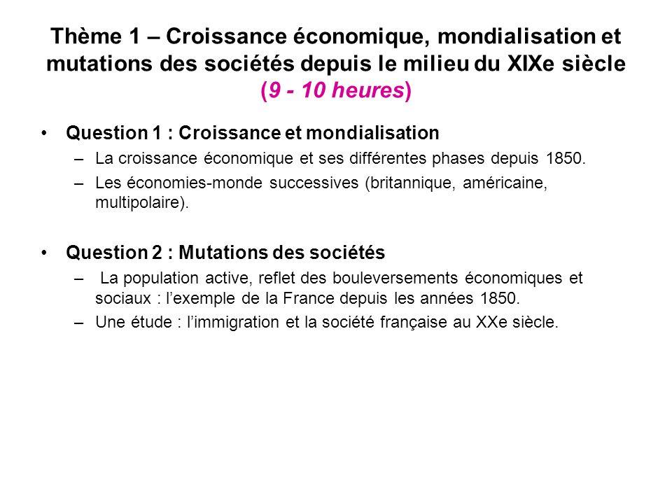 Thème 1 – Croissance économique, mondialisation et mutations des sociétés depuis le milieu du XIXe siècle (9 - 10 heures) Question 1 : Croissance et mondialisation –La croissance économique et ses différentes phases depuis 1850.