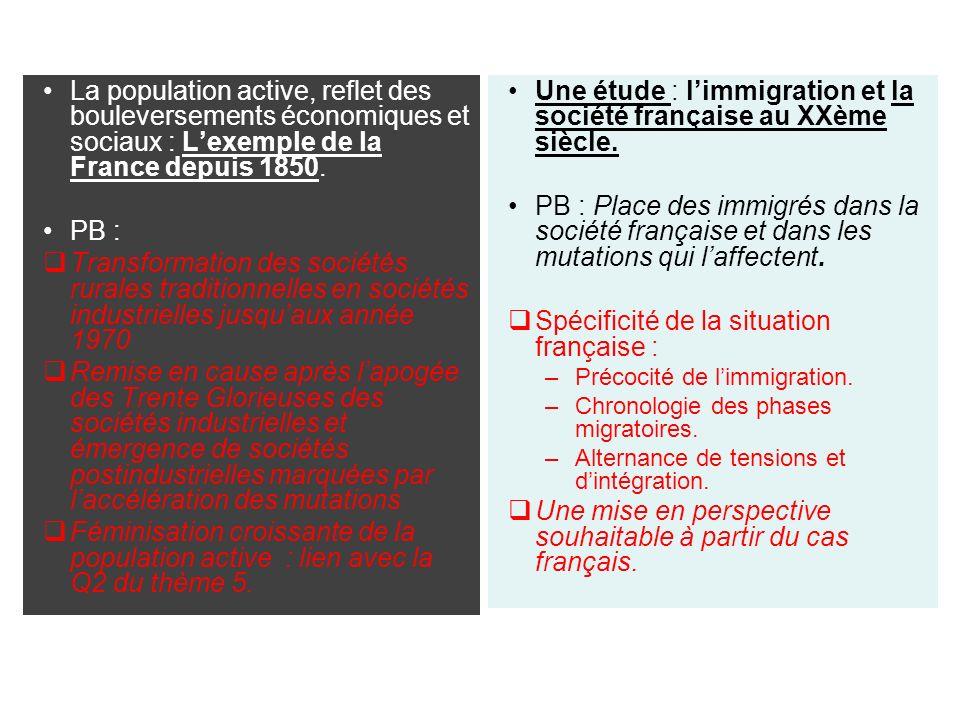 La population active, reflet des bouleversements économiques et sociaux : Lexemple de la France depuis 1850.
