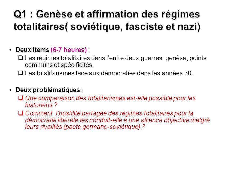 Deux items (6-7 heures) : Les régimes totalitaires dans lentre deux guerres: genèse, points communs et spécificités.