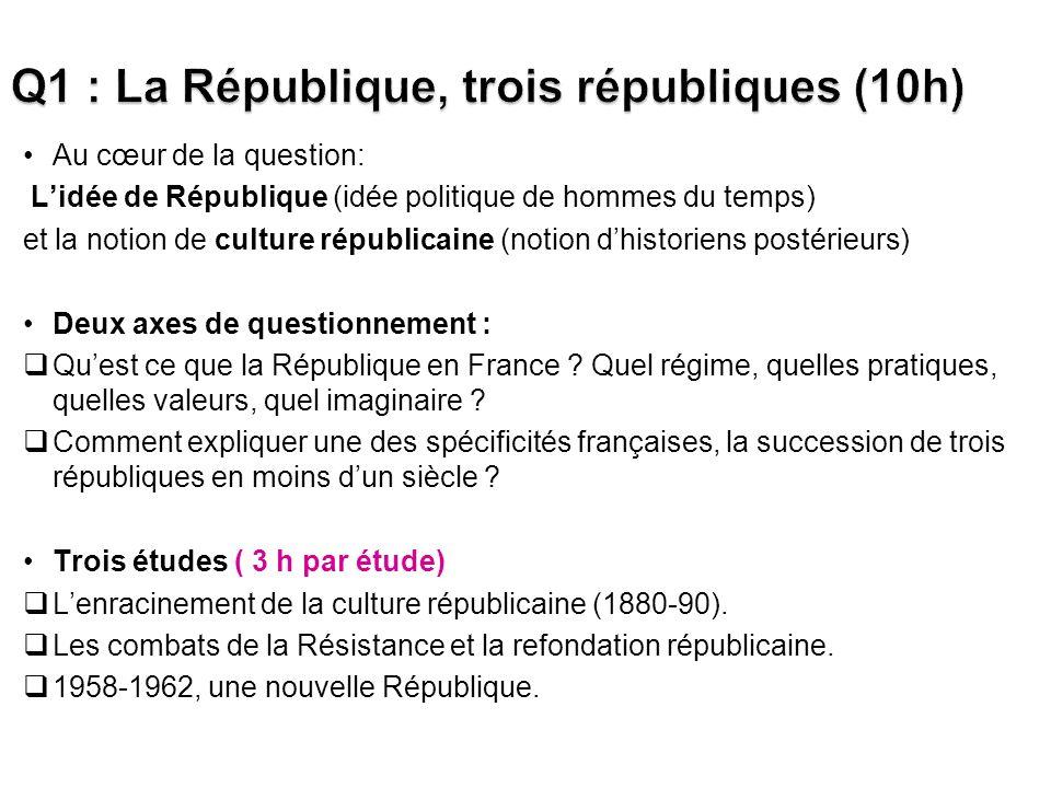 Au cœur de la question: Lidée de République (idée politique de hommes du temps) et la notion de culture républicaine (notion dhistoriens postérieurs) Deux axes de questionnement : Quest ce que la République en France .