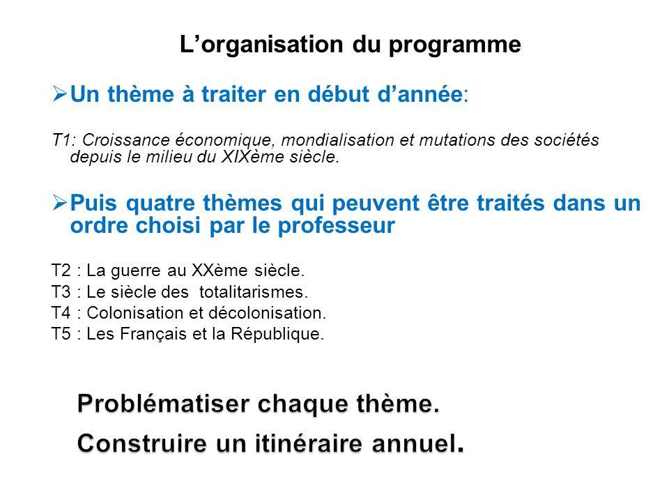 Lorganisation du programme Un thème à traiter en début dannée: T1: Croissance économique, mondialisation et mutations des sociétés depuis le milieu du XIXème siècle.