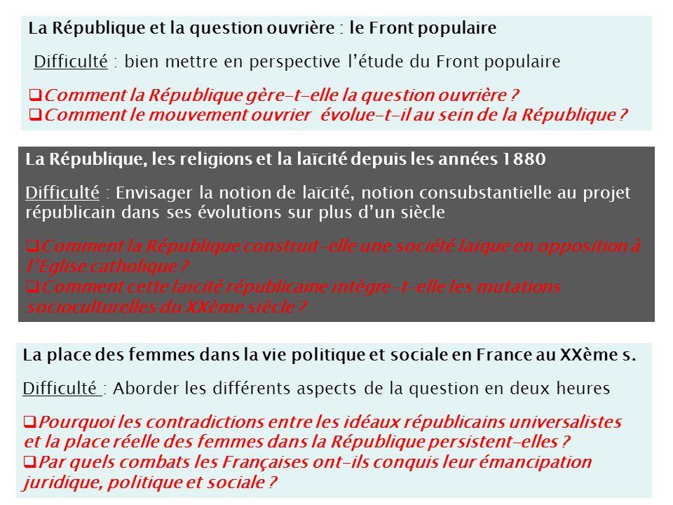La République et la question ouvrière : le Front populaire Difficulté : bien mettre en perspective létude du Front populaire Comment la République gère-t-elle la question ouvrière .