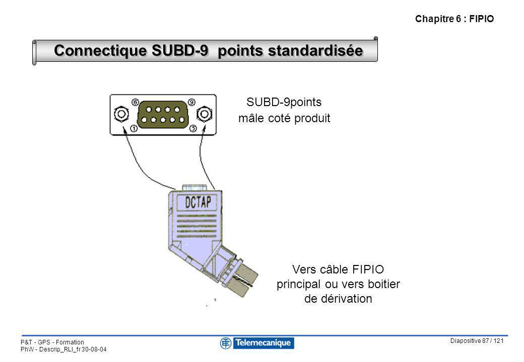 Diapositive 87 / 121 P&T - GPS - Formation PhW - Descrip_RLI_fr 30-08-04 Chapitre 6 : FIPIO Connectique SUBD-9 points standardisée SUBD-9points mâle c