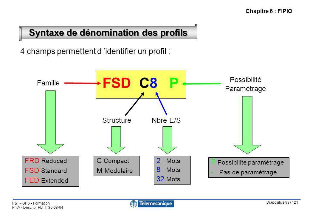 Diapositive 93 / 121 P&T - GPS - Formation PhW - Descrip_RLI_fr 30-08-04 Chapitre 6 : FIPIO Syntaxe de dénomination des profils 4 champs permettent d