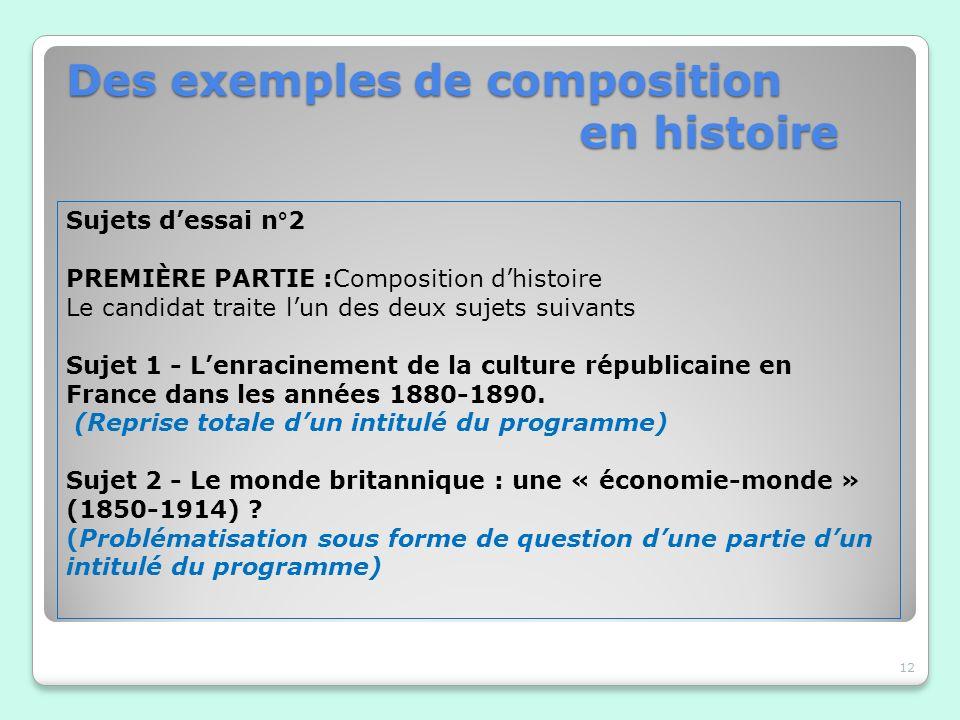 Des exemples de composition en histoire 12 Sujets dessai n°2 PREMIÈRE PARTIE :Composition dhistoire Le candidat traite lun des deux sujets suivants Su