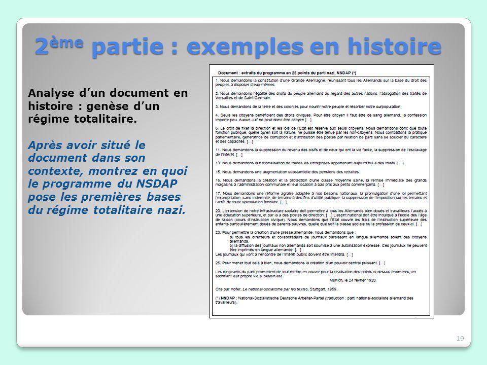 19 Analyse dun document en histoire : genèse dun régime totalitaire. Après avoir situé le document dans son contexte, montrez en quoi le programme du