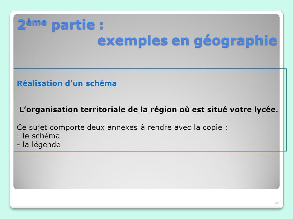 2 ème partie : exemples en géographie 20 Réalisation dun schéma Lorganisation territoriale de la région où est situé votre lycée. Ce sujet comporte de