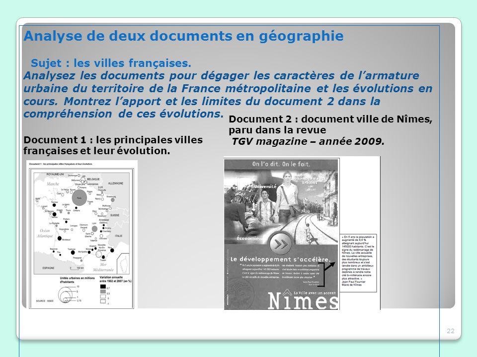 Analyse de deux documents en géographie Sujet : les villes françaises. Analysez les documents pour dégager les caractères de larmature urbaine du terr