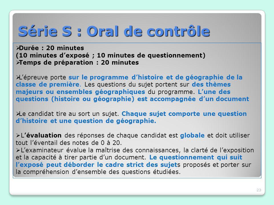 Série S : Oral de contrôle 23 Durée : 20 minutes (10 minutes dexposé ; 10 minutes de questionnement) Temps de préparation : 20 minutes Lépreuve porte